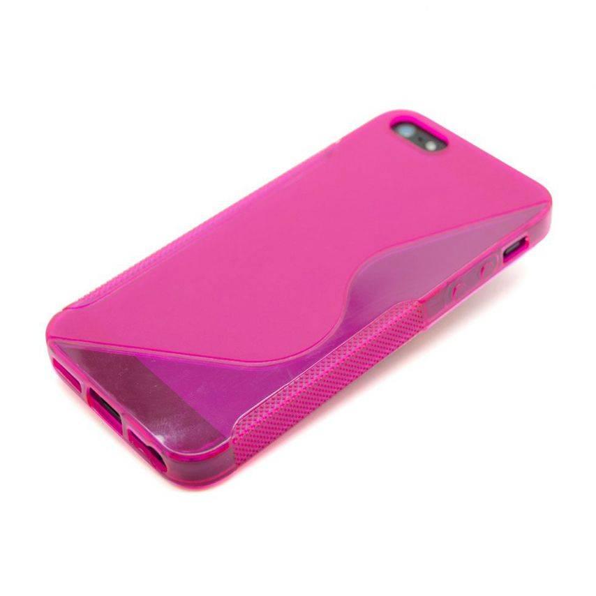 Vue portée de Coque iPhone 5 Tpu Basics SLine Rose Fushia
