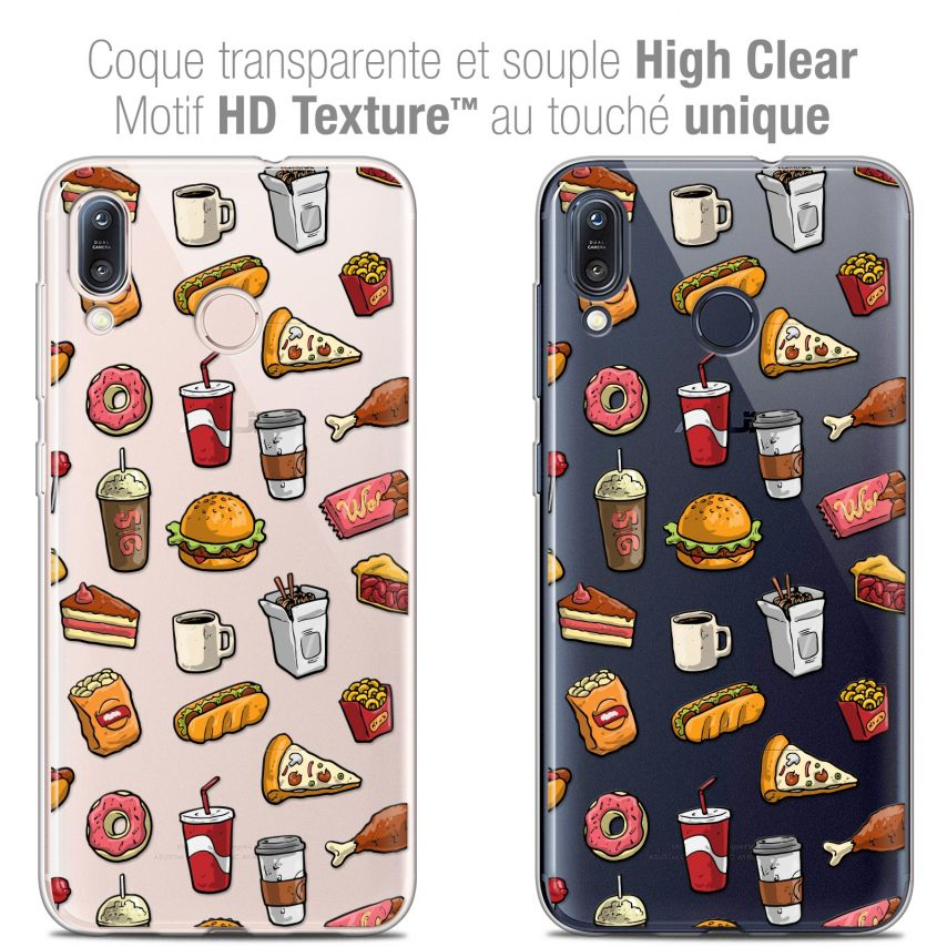 """Coque Crystal Gel Asus Zenfone Max (M1) ZB555KL (5.5"""") Extra Fine Foodie - Fast Food"""