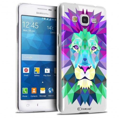 Coque Crystal Galaxy Grand Prime Extra Fine Polygon Animals - Lion