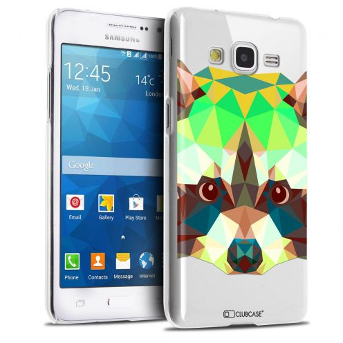 Zoom sur Coque Crystal Galaxy Grand Prime Extra Fine Polygon Animals - Raton Laveur