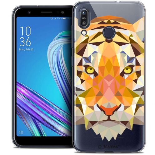 "Coque Crystal Gel Asus Zenfone Max (M1) ZB555KL (5.5"") Extra Fine Polygon Animals - Tigre"
