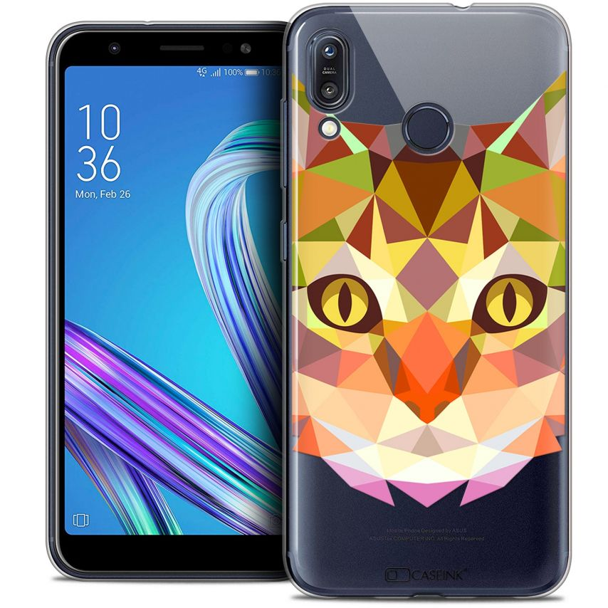 """Coque Crystal Gel Asus Zenfone Max (M1) ZB555KL (5.5"""") Extra Fine Polygon Animals - Chat"""