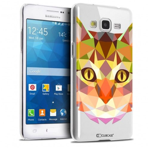 Zoom sur Coque Crystal Galaxy Grand Prime Extra Fine Polygon Animals - Chat