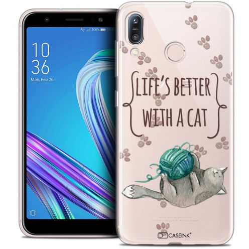 """Coque Crystal Gel Asus Zenfone Max (M1) ZB555KL (5.5"""") Extra Fine Quote - Life's Better With a Cat"""