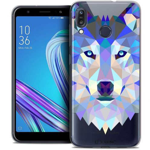 "Coque Crystal Gel Asus Zenfone Max (M1) ZB555KL (5.5"") Extra Fine Polygon Animals - Loup"