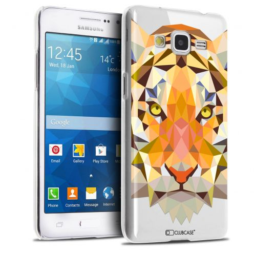 Zoom sur Coque Crystal Galaxy Grand Prime Extra Fine Polygon Animals - Tigre
