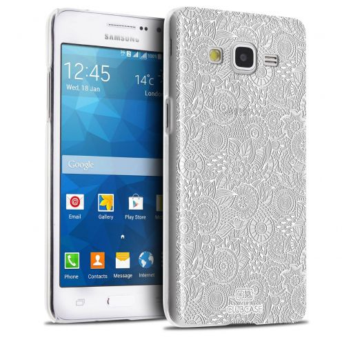Zoom sur Coque Crystal Galaxy Grand Prime Extra Fine Texture Dentelle Florale - Blanche