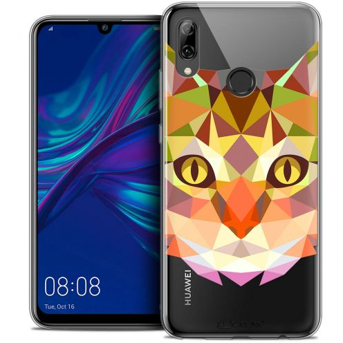 """Coque Crystal Gel Huawei P Smart 2019 (6.21"""") Extra Fine Polygon Animals - Chat"""