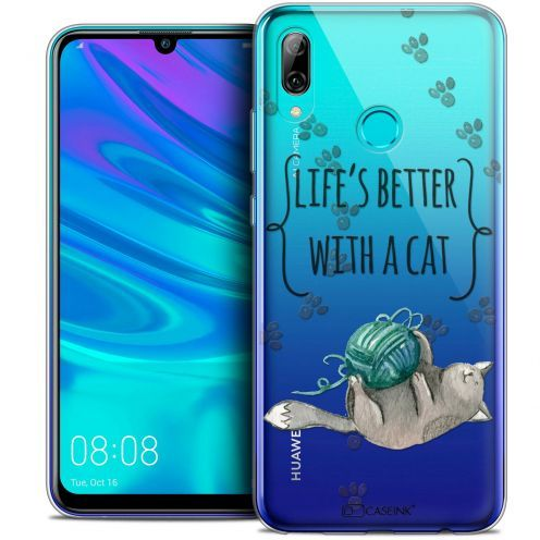 "Coque Crystal Gel Huawei P Smart 2019 (6.21"") Extra Fine Quote - Life's Better With a Cat"