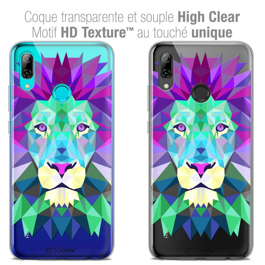 "Coque Crystal Gel Huawei P Smart 2019 (6.21"") Extra Fine Polygon Animals - Lion"