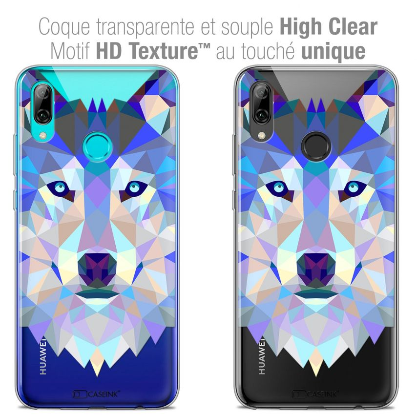 """Coque Crystal Gel Huawei P Smart 2019 (6.21"""") Extra Fine Polygon Animals - Loup"""
