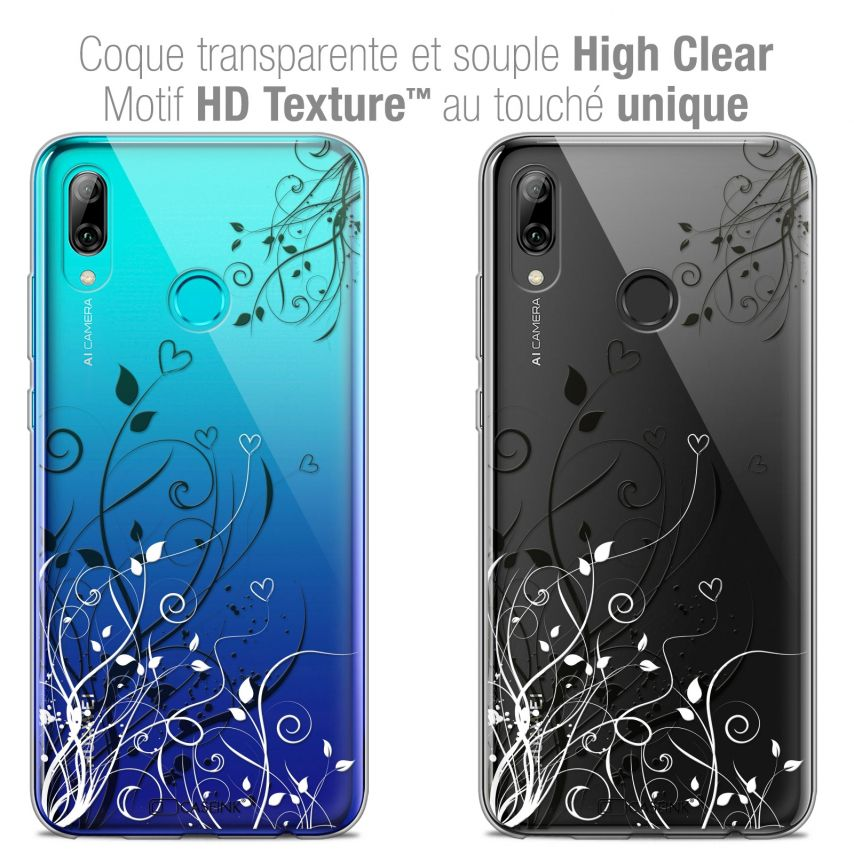 "Coque Crystal Gel Huawei P Smart 2019 (6.21"") Extra Fine Love - Hearts Flowers"