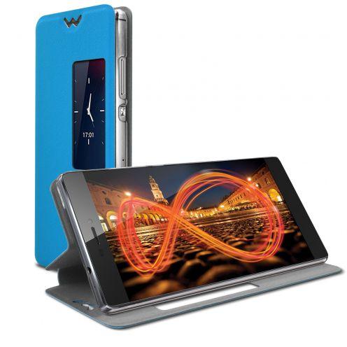 Photo réelle de Coque Etui Huawei Ascend P8 Slim Folio - Fonction Smart View - Bleu