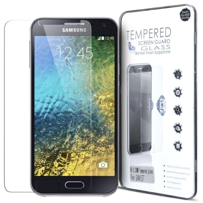Vue détaillée de Protection d'écran Verre trempé Samsung Galaxy E7 - 9H Glass Pro+ HD 0.33 mm 2.5D