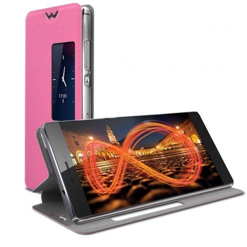 Photo réelle de Coque Etui Huawei Ascend P8 Slim Folio - Fonction Smart View - Rose