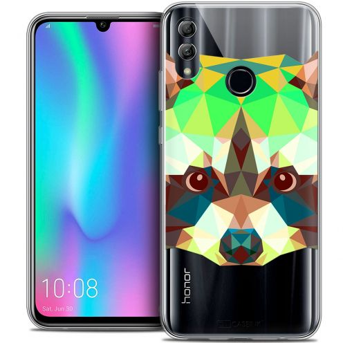 "Coque Crystal Gel Huawei Honor 10 LITE (5.8"") Extra Fine Polygon Animals - Raton Laveur"
