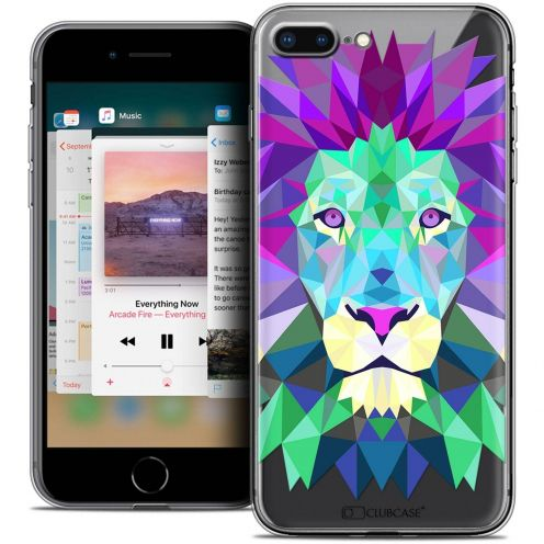 "Coque Crystal Gel Apple iPhone 7 Plus (5.5"") Extra Fine Polygon Animals - Lion"
