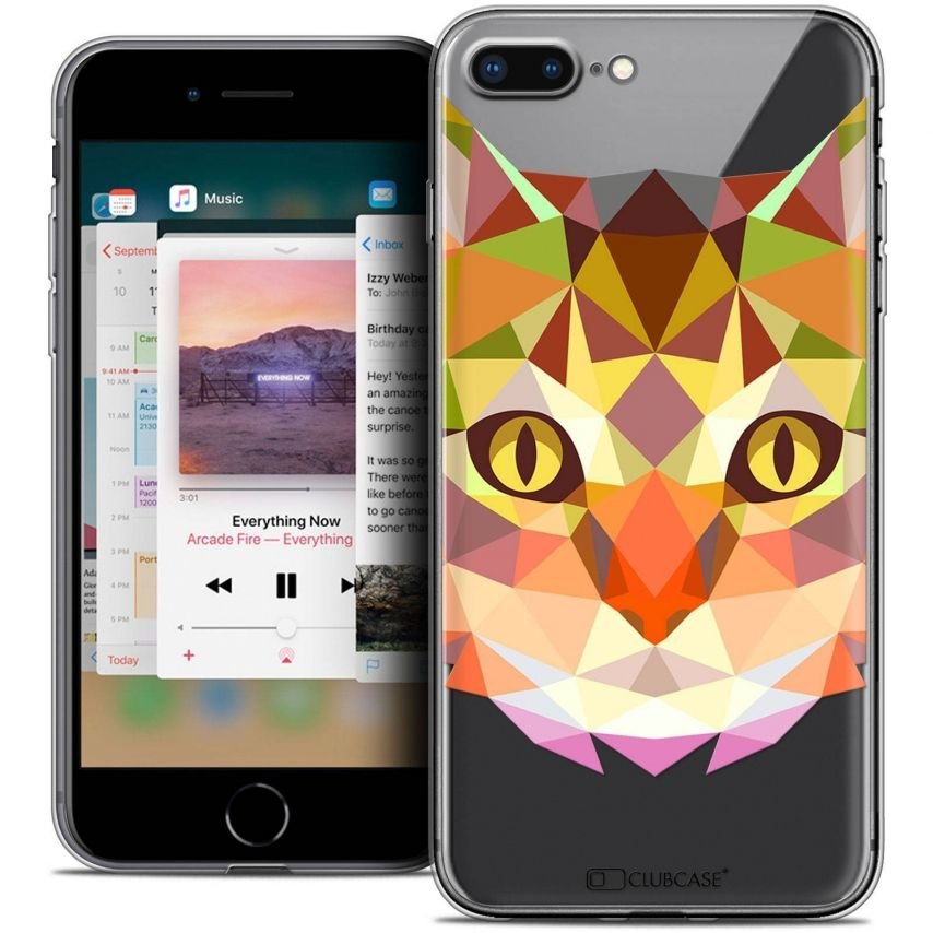 """Coque Crystal Gel Apple iPhone 7 Plus (5.5"""") Extra Fine Polygon Animals - Chat"""
