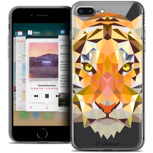 "Coque Crystal Gel Apple iPhone 7 Plus (5.5"") Extra Fine Polygon Animals - Tigre"