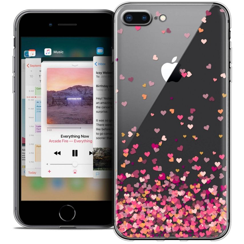 "Coque Crystal Gel Apple iPhone 7 Plus (5.5"") Extra Fine Sweetie - Heart Flakes"