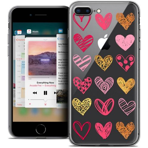 "Coque Crystal Gel Apple iPhone 7 Plus (5.5"") Extra Fine Sweetie - Doodling Hearts"
