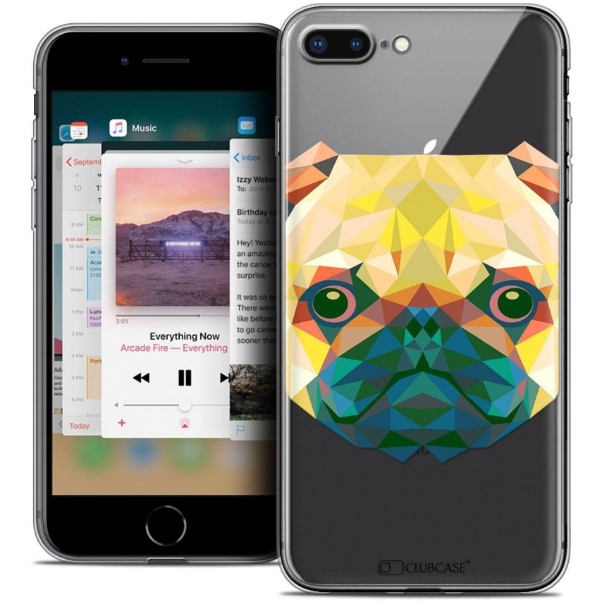 "Coque Crystal Gel Apple iPhone 7 Plus (5.5"") Extra Fine Polygon Animals - Chien"