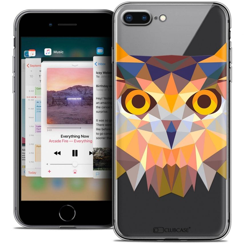 "Coque Crystal Gel Apple iPhone 7 Plus (5.5"") Extra Fine Polygon Animals - Hibou"