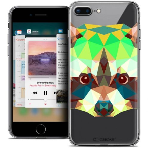 "Coque Crystal Gel Apple iPhone 7 Plus (5.5"") Extra Fine Polygon Animals - Raton Laveur"