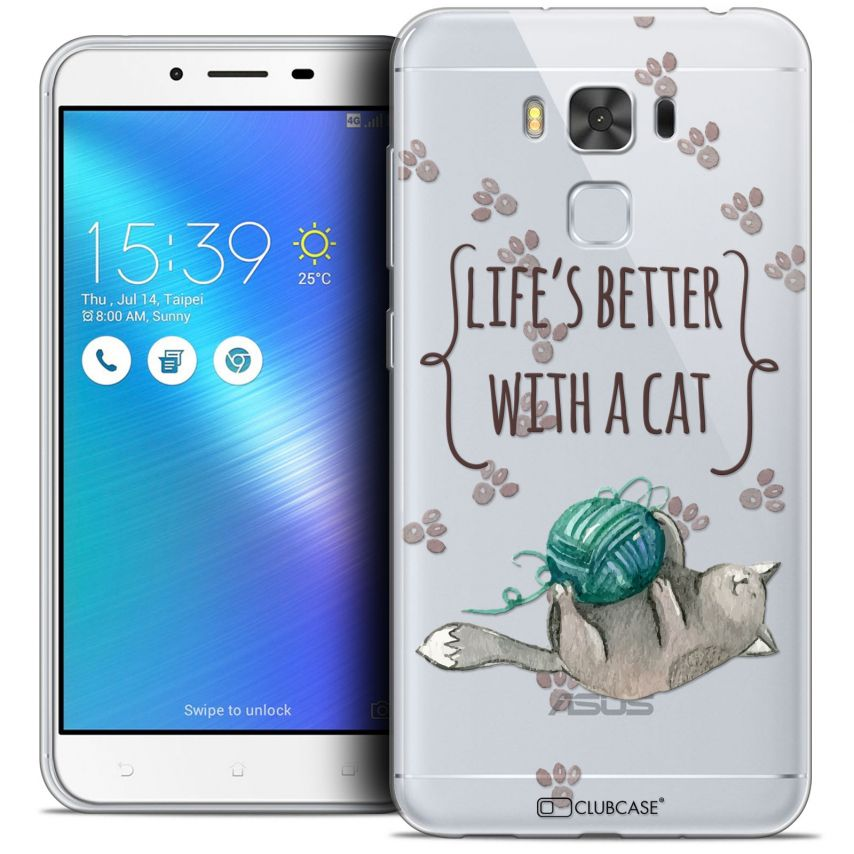 "Coque Crystal Gel Asus Zenfone 3 Max Plus ZC553KL (5.5"") Extra Fine Quote - Life's Better With a Cat"