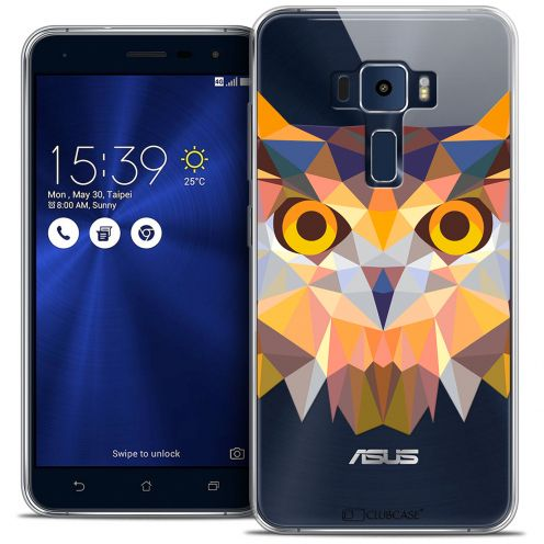 "Coque Crystal Gel Asus Zenfone 3 ZE520KL (5.2"") Extra Fine Polygon Animals - Hibou"