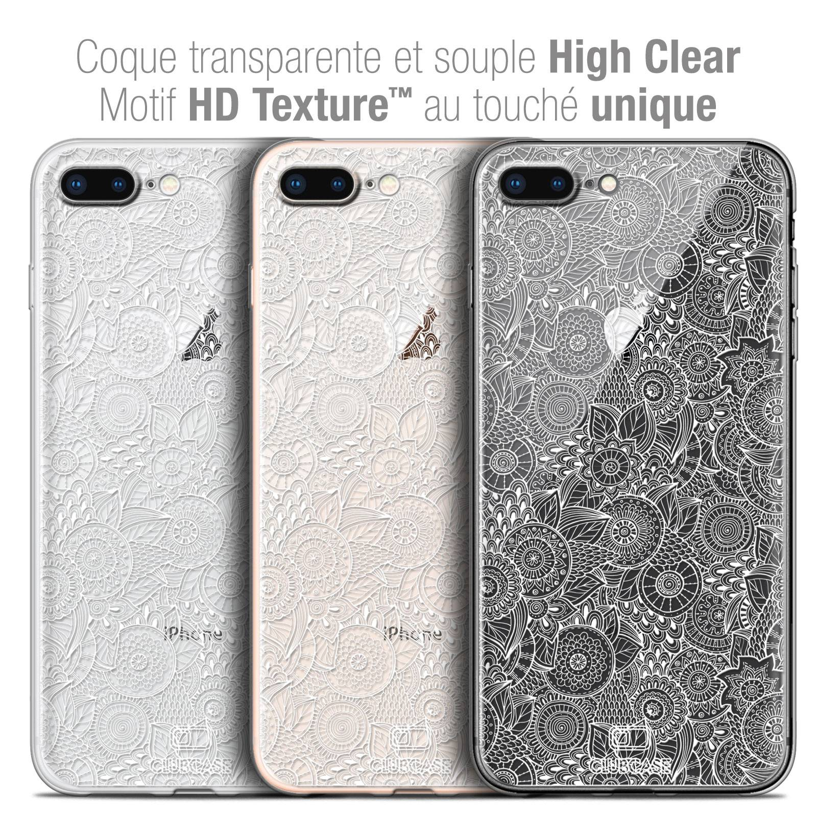 coque crystal gel apple iphone 7 8 plus 55 extra fine texture dentelle florale blanche