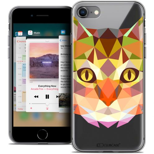 "Coque Crystal Gel Apple iPhone 8 (4.7"") Extra Fine Polygon Animals - Chat"