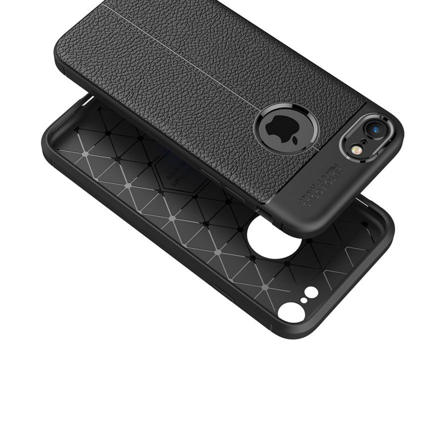 "Coque Apple iPhone 7/8 (4.7"") Hybrid Series Texture Cuir Noir"