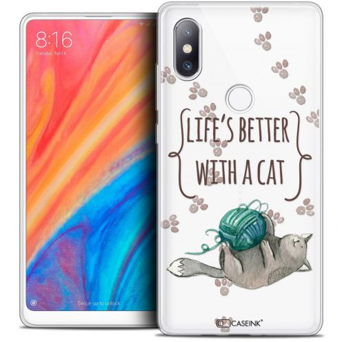 """Coque Crystal Gel Xiaomi Mi Mix 2S (5.99"""") Extra Fine Quote - Life's Better With a Cat"""