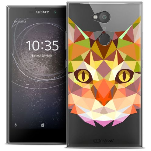 """Coque Crystal Gel Sony Xperia L2 (5.5"""") Extra Fine Polygon Animals - Chat"""