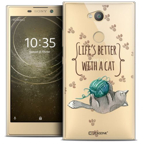 "Coque Crystal Gel Sony Xperia L2 (5.5"") Extra Fine Quote - Life's Better With a Cat"