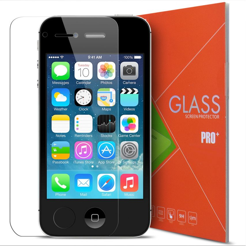 Vue détaillée de Protection d'écran Verre trempé Apple iPhone 4/4S - 9H Glass Pro+ HD 0.33mm 2.5D