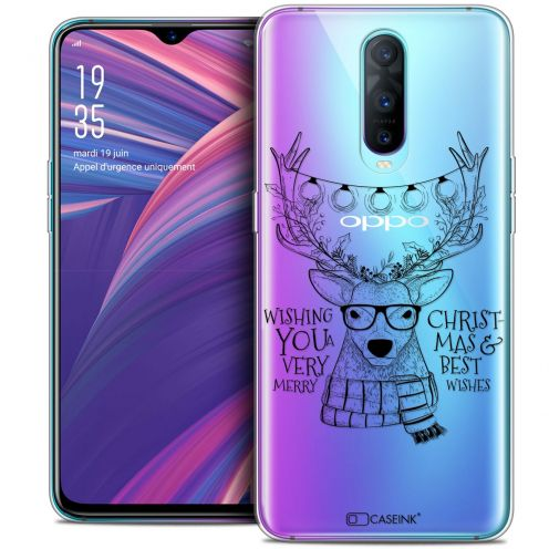 """Coque Crystal Gel Oppo RX17 Pro (6.4"""") Extra Fine Noël 2017 - Cerf Hipster"""