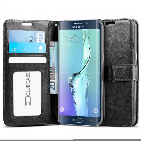 Housse Folio Stand Samsung Galaxy S6 Edge+ / Plus Vintage Cuirette Veiné Noir