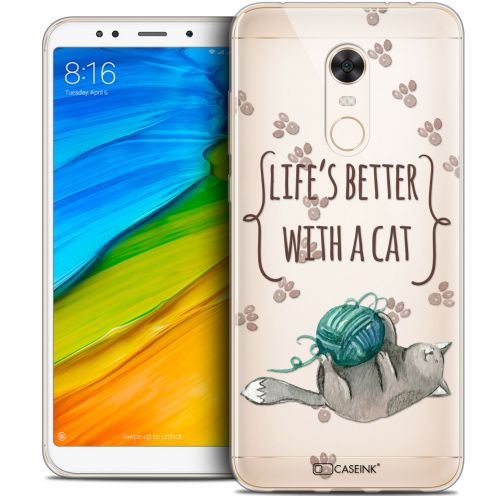 """Coque Crystal Gel Xiaomi Redmi 5 Plus (6"""") Extra Fine Quote - Life's Better With a Cat"""