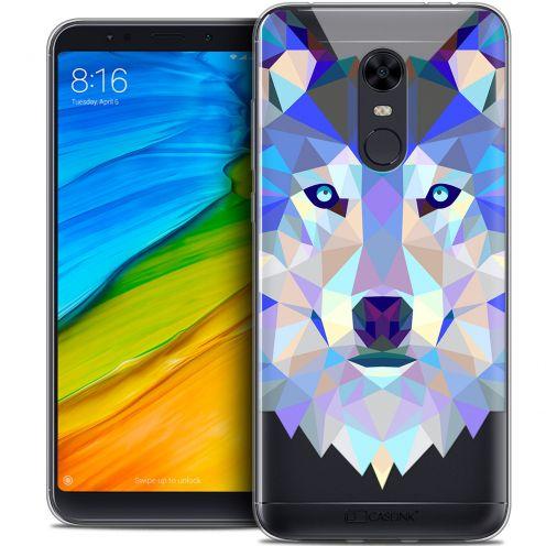 "Coque Crystal Gel Xiaomi Redmi 5 Plus (6"") Extra Fine Polygon Animals - Loup"