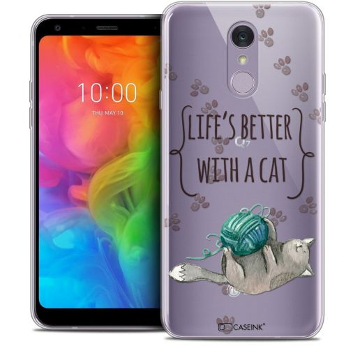 """Coque Crystal Gel LG Q7 (5.5"""") Extra Fine Quote - Life's Better With a Cat"""