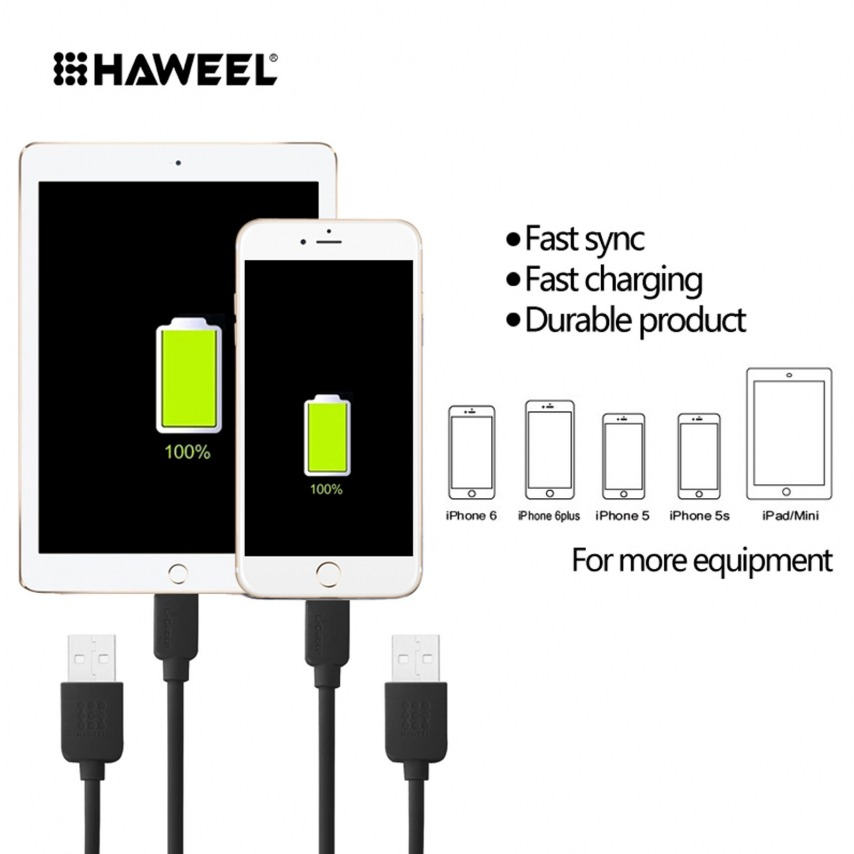 Zoom sur Câble USB à 8 Pins iOS9 1m Haweel® Fast Charge - iPhone 6S/6 Plus/5/S/C Noir