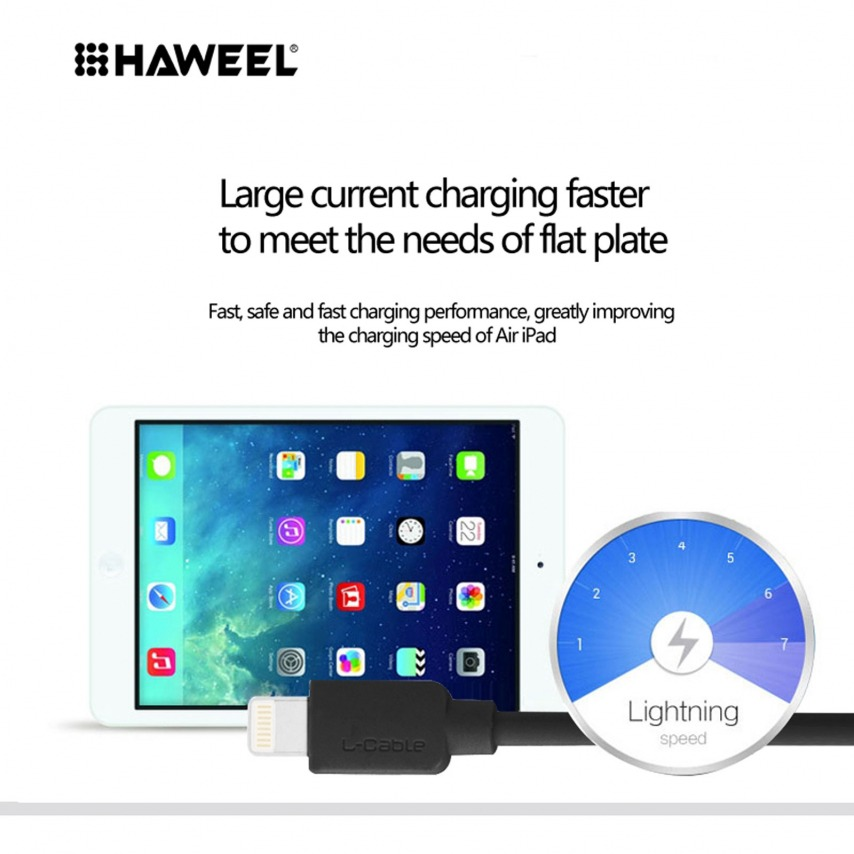 Visuel unique de Câble USB à 8 Pins iOS9 1m Haweel® Fast Charge - iPhone 6S/6 Plus/5/S/C Noir
