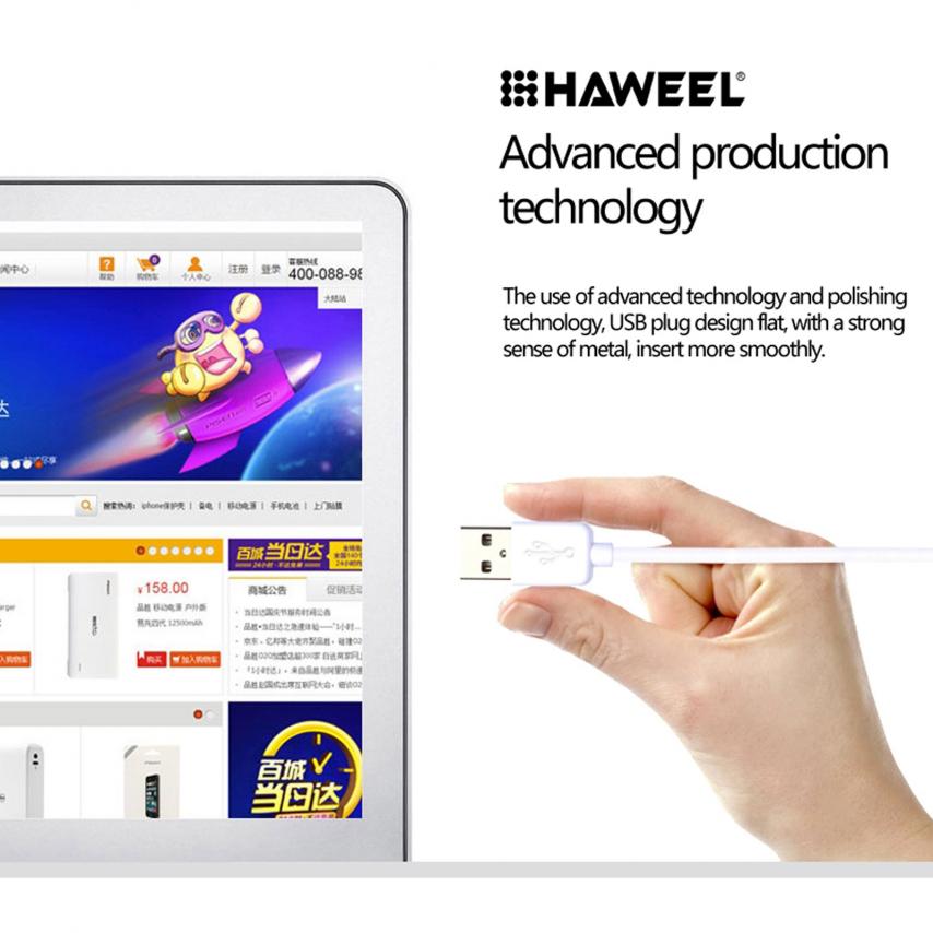 Visuel unique de Câble USB à 8 Pins iOS9 1m Haweel® Fast Charge - iPhone 6S/6 Plus/5/S/C Blanc
