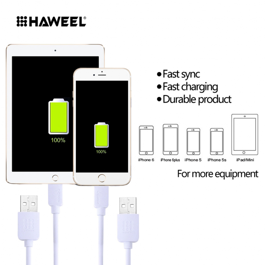 Vue complémentaire de Câble USB à 8 Pins iOS9 1m Haweel® Fast Charge - iPhone 6S/6 Plus/5/S/C Blanc