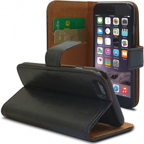 Photo réelle de Etui Italia Folio Stand Apple iPhone 6 Plus / 6s Plus Cuir Véritable Bovin Noir
