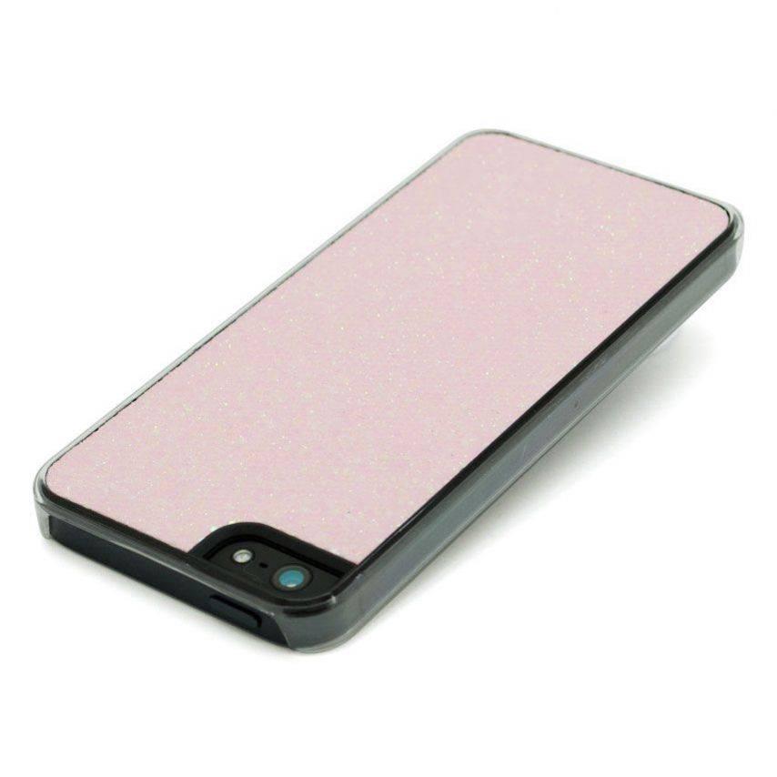 Vue portée de Coque Luxe Strass & Paillettes Rose iPhone 5