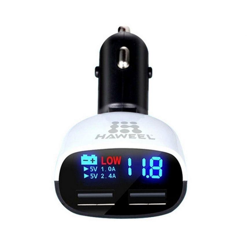 Vue détaillée de Chargeur Voiture Allume Cigare Haweel® 2xUSB 3.4A 12/24V Avec Affichage LED