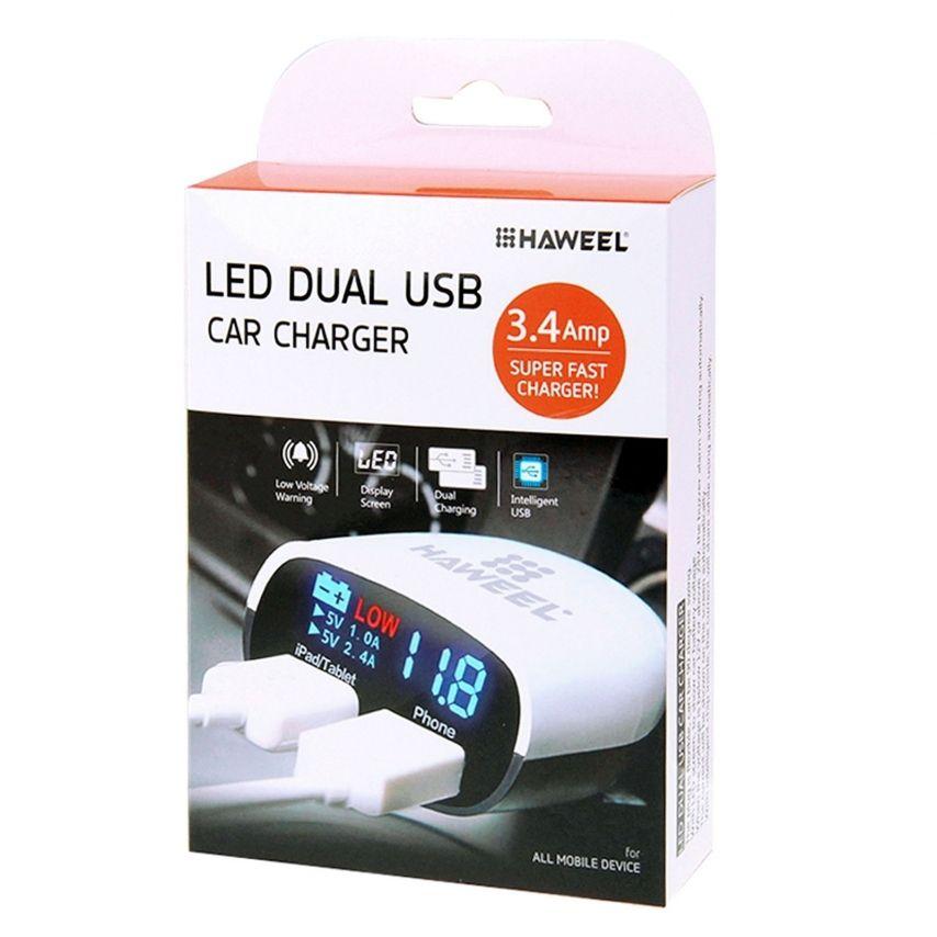 Visuel supplémentaire de Chargeur Voiture Allume Cigare Haweel® 2xUSB 3.4A 12/24V Avec Affichage LED